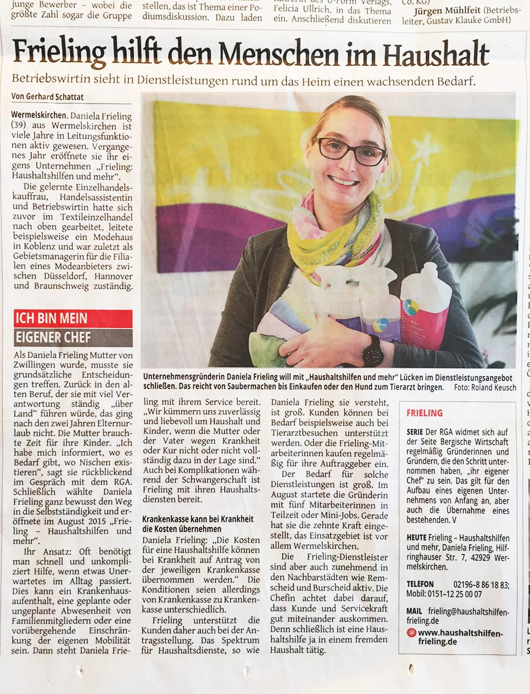 Artikel im Remscheider General-Anzeiger vom 9. April 2015