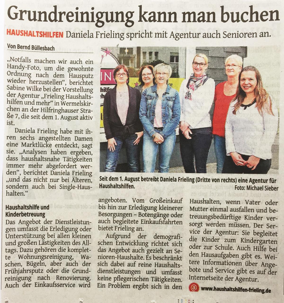 Artikel im Remscheider General-Anzeiger vom 4. August 2015